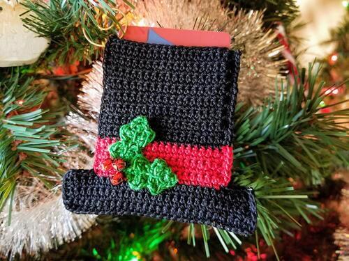 Snowman Hat Ornament Gift Card Holder