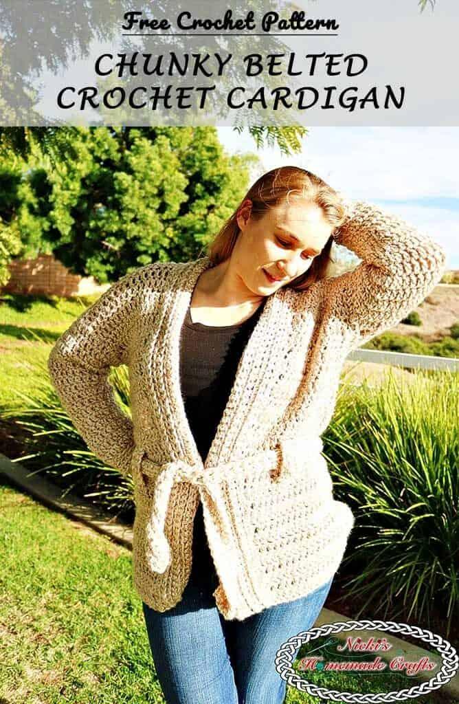 Crochet Chunky Belted Crochet Cardigan