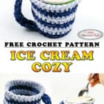 How to crochet an Ice Cream Cozy using velvet yarn - free pattern