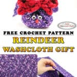 Reindeer Washcloth as Gift with Soap - free crochet pattern