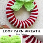 loop yarn wreath that looks like candy cane with grinch green bow