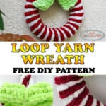 make grinch green bow on red and white loop yarn wreath