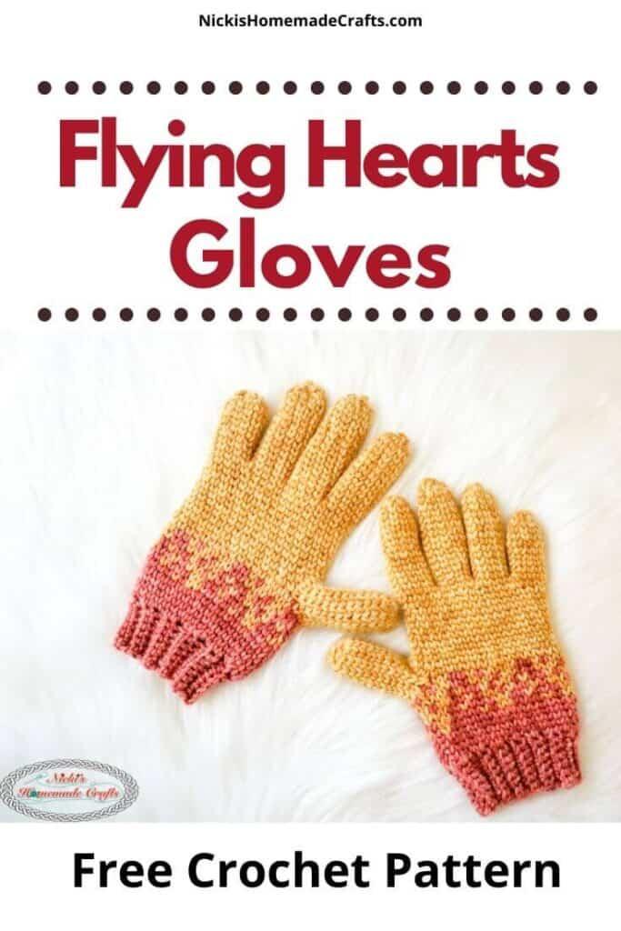 Crochet Flying Hearts Gloves Pattern