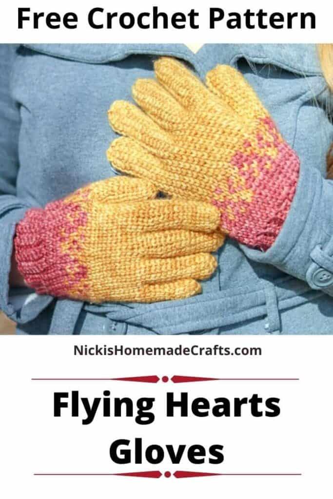Flying Hearts Gloves - Free Crochet Pattern