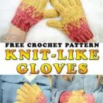 Knit-like gloves free crochet pattern
