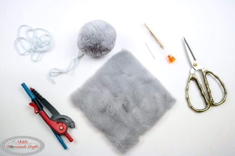 faux fur pom-poms for hats being made