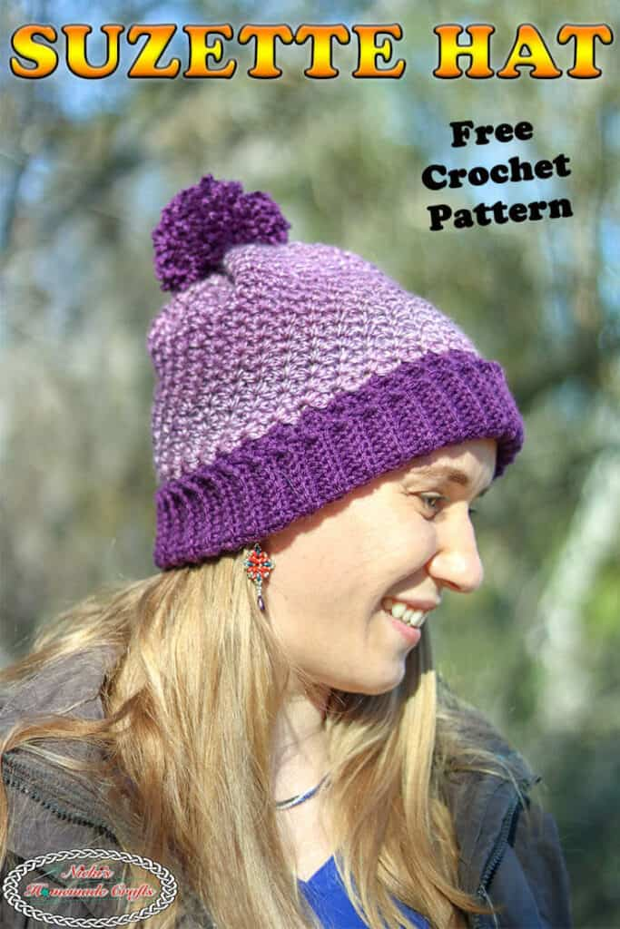 Crochet Suzette hat with fold over brim and pom-pom - free pattern