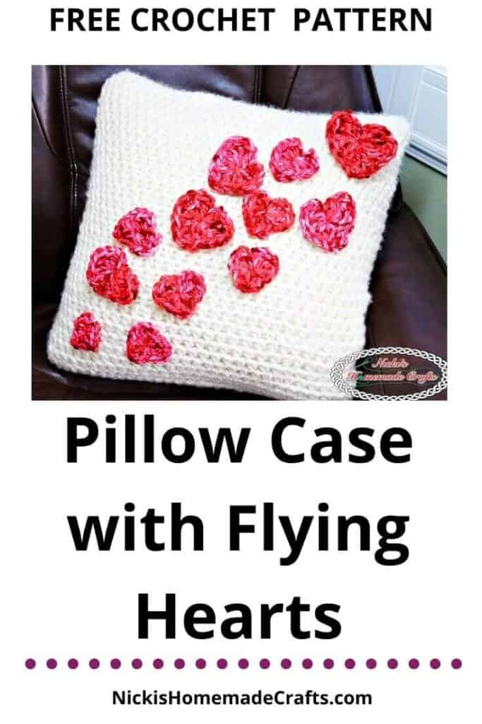 Crochet Pillow Case with Flying Hearts Pattern