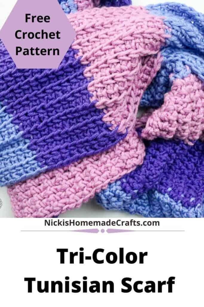 Crochet Tri-Color Tunisian Scarf
