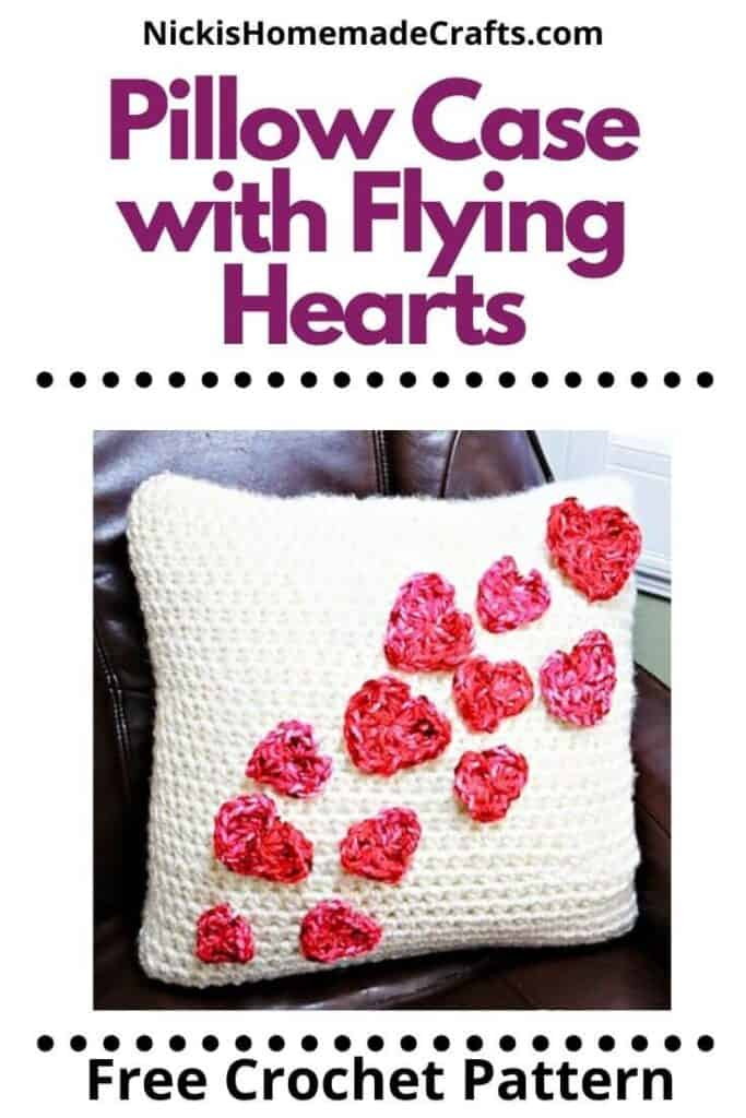 Pillow Case with Flying Hearts Pattern