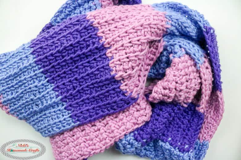 The Tri-Color Tunisian Scarf - Free Crochet Pattern