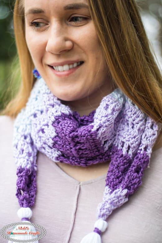 Diamond Scarf Crochet Pattern closeup