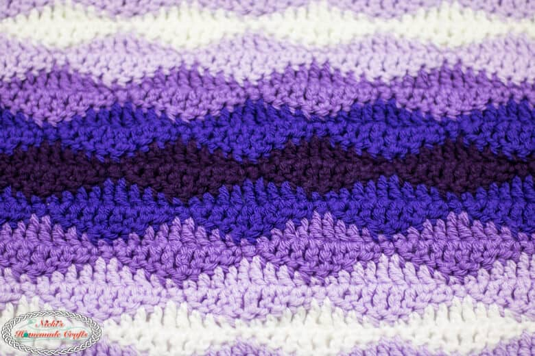 Close up of Rolling Waves Crochet Blanket