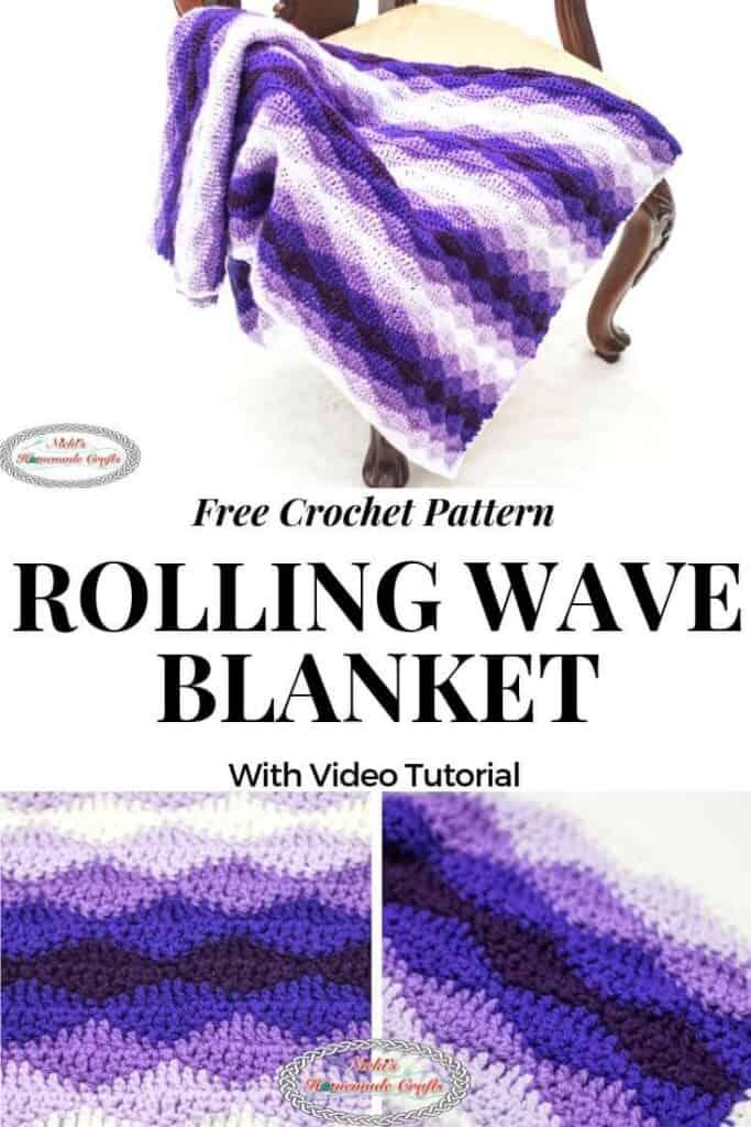 Rolling Waves Crochet Blanket as Free Crochet Pattern