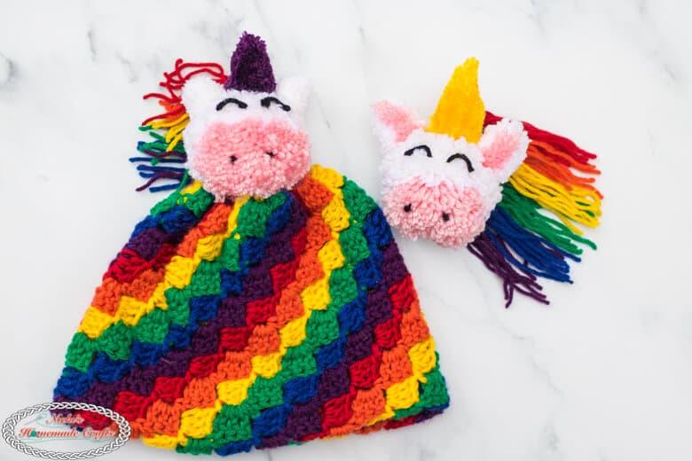 Rainbow C2C hat with Unicorn Pom-Pom