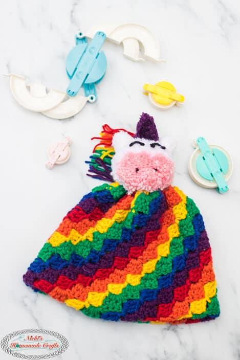 C2C Rainbow Hat with Unicorn Pom-Pom Free Crochet Pattern