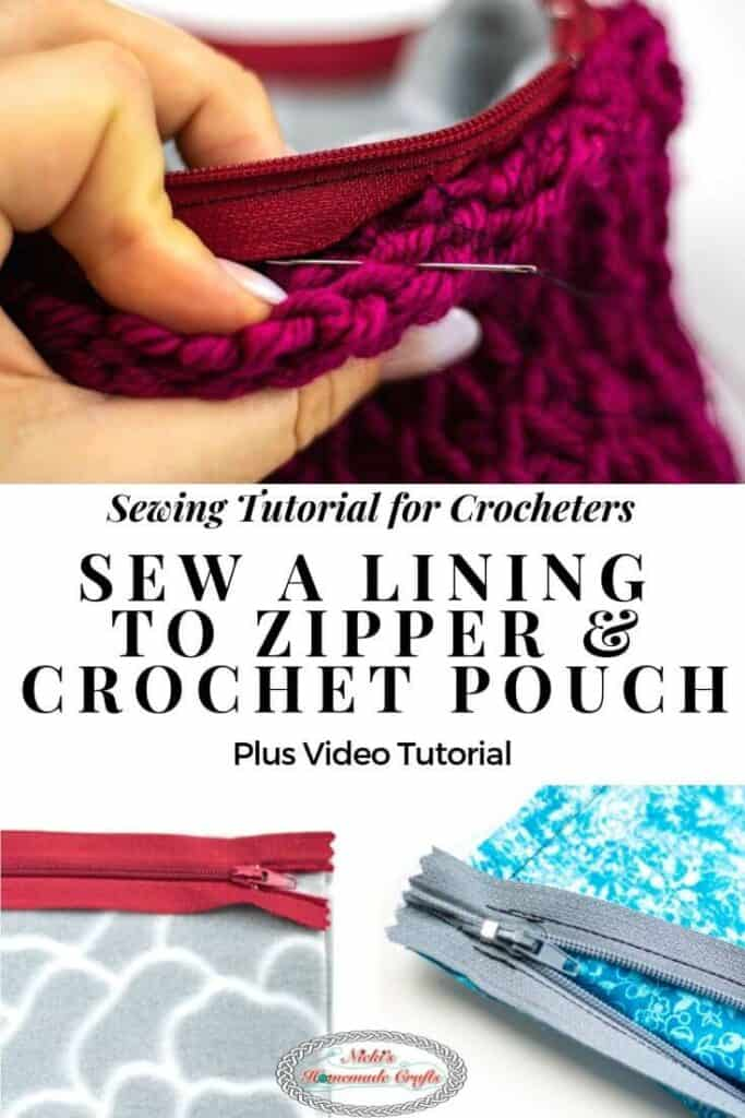 Sew a Lining to Zipper and Crochet Pouch or Bag