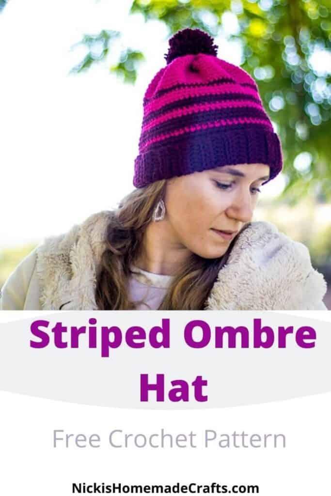 Crochet Striped Ombre Hat