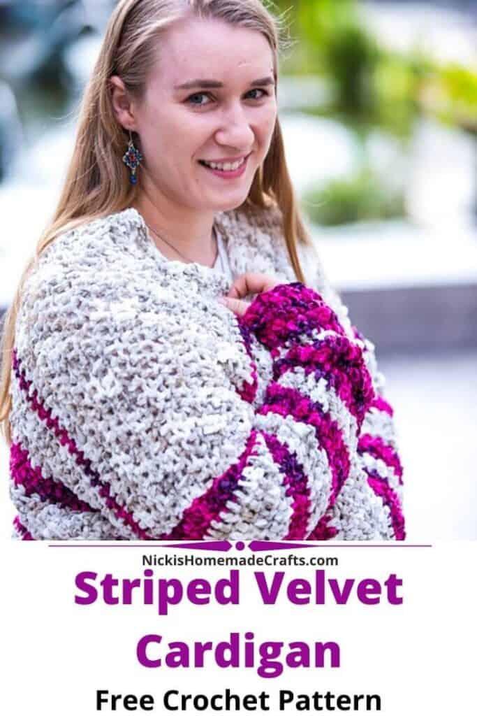 Crochet Striped Velvet Cardigan
