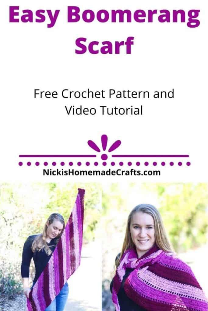 Easy Boomerang Scarf Free Crochet Pattern
