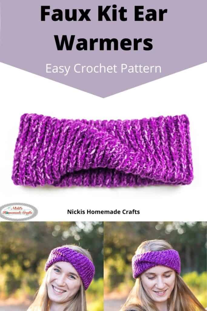 Faux Knit Ear Warmers Crochet Pattern