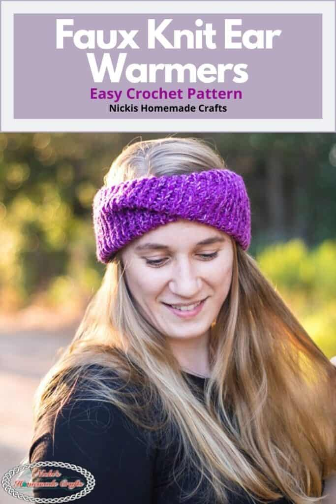 Faux Knit Ear Warmers Easy Crochet Pattern