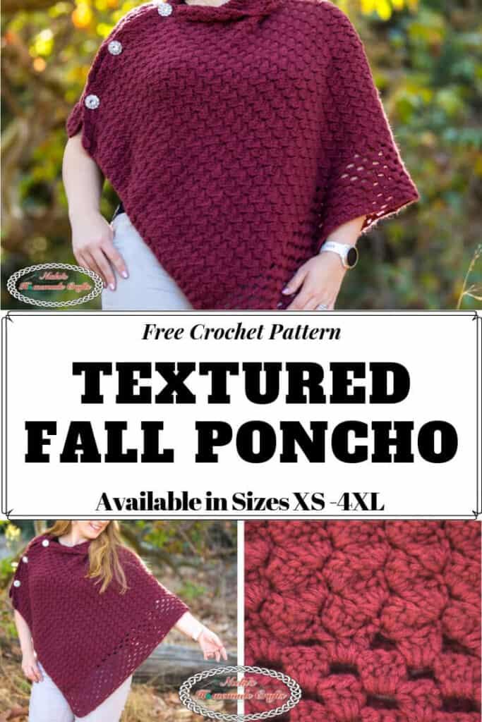 Crochet Pattern Textured Fall Poncho