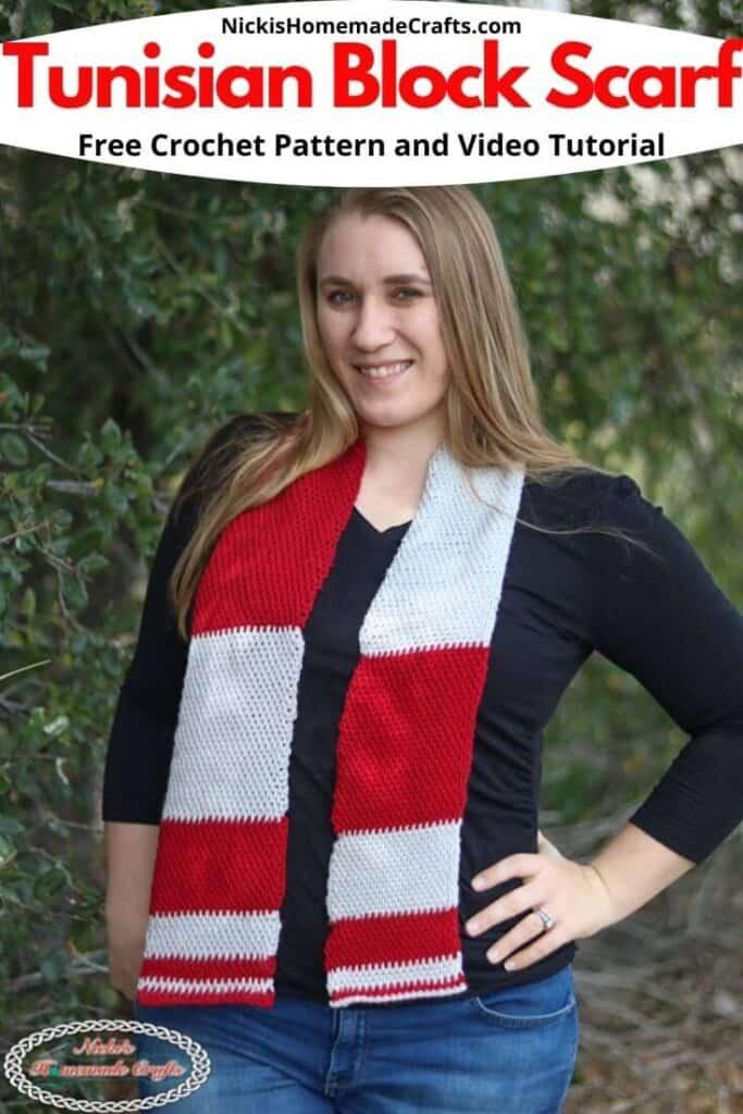 Tunisian Block Scarf Crochet Pattern