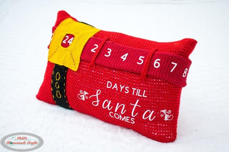 Advent Calendar Pillow Crochet Pattern Shown from the side