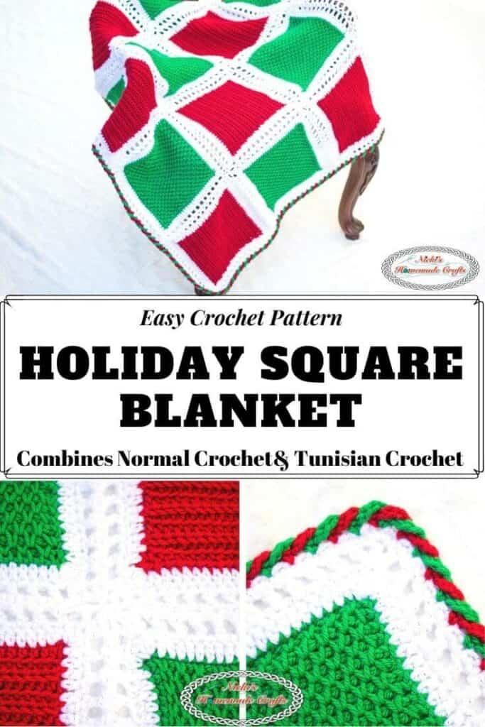 Crochet Holiday Square Blanket Pattern
