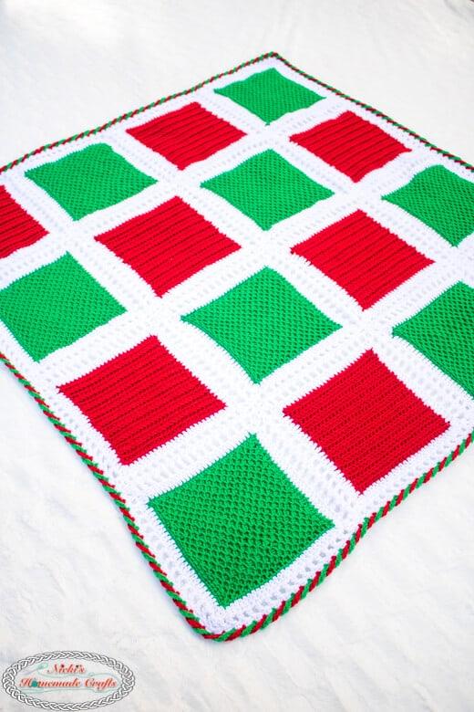 Holiday Square Blanket Crochet Pattern diagonal