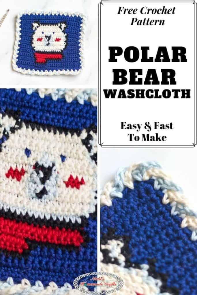Polar Bear Washcloth Free Tapestry Crochet Pattern