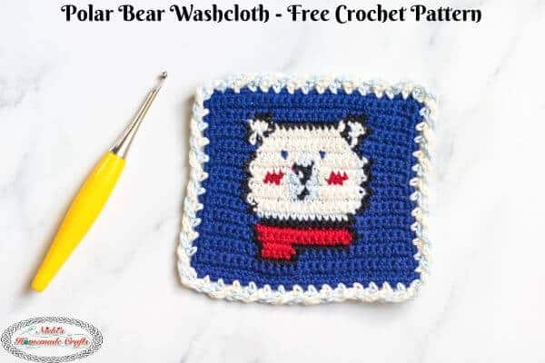 Polar Bear Washcloth Tapestry Crochet Pattern