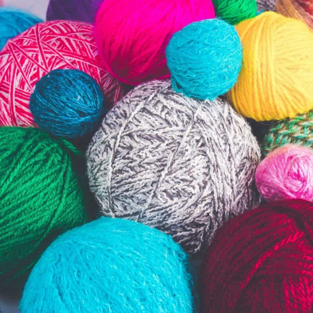 Yarn balls in many colors