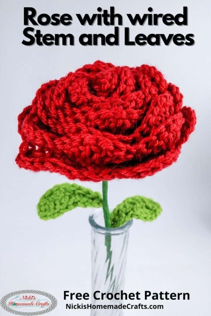 Crochet Rose with Wired Stem and Leaves Pattern