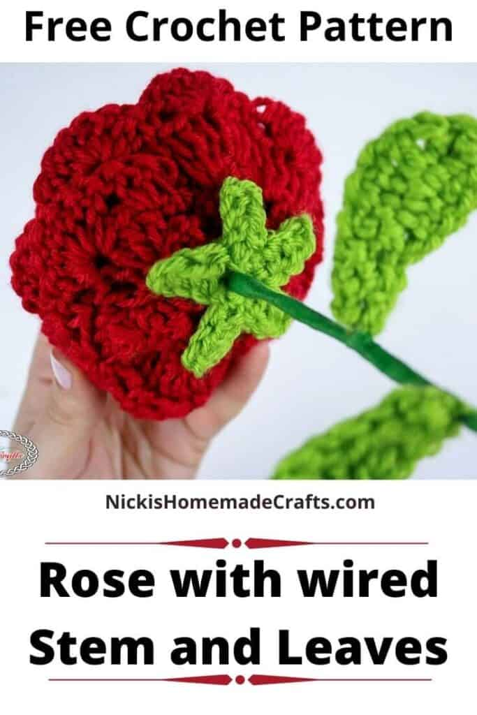 Rose with Wired Stem and Leaves - Free Crochet Pattern