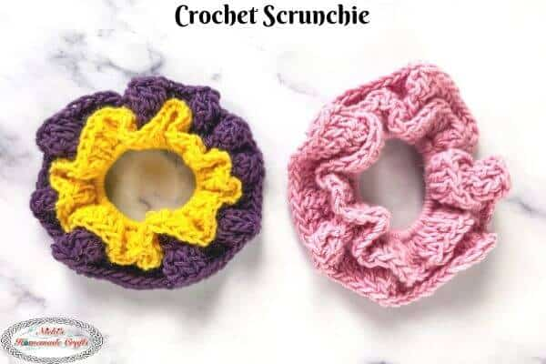 how to crochet a ruffle scrunchie