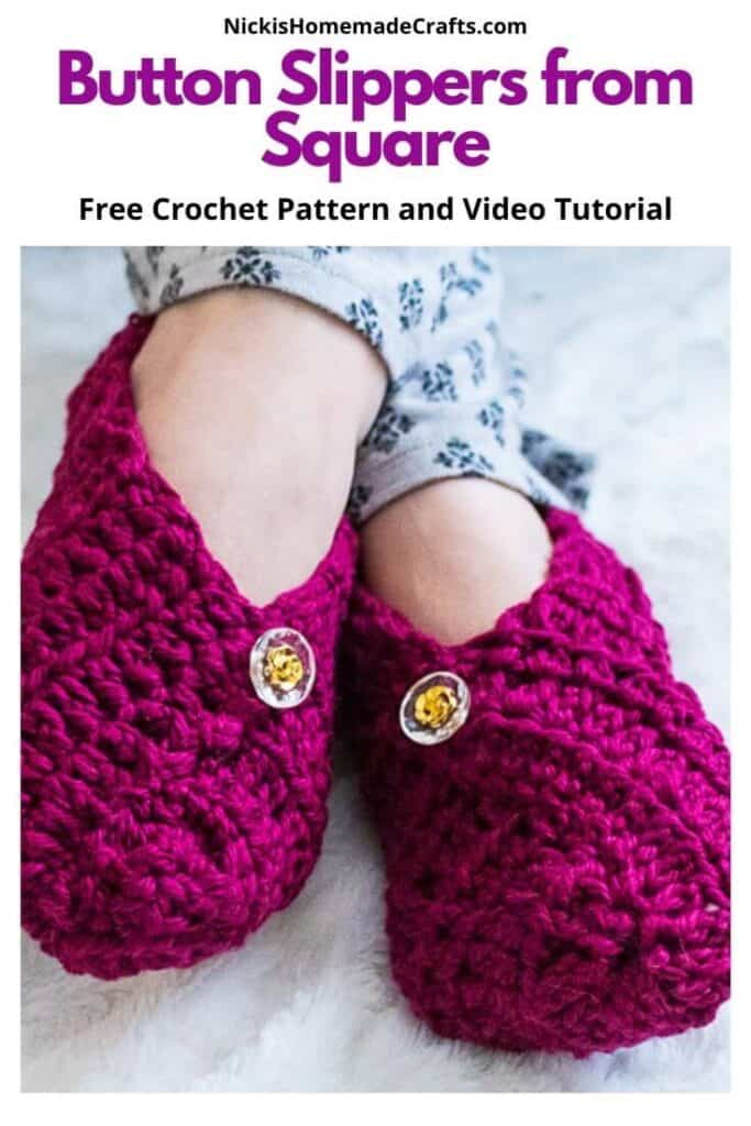 Crochet Button Slippers from Square