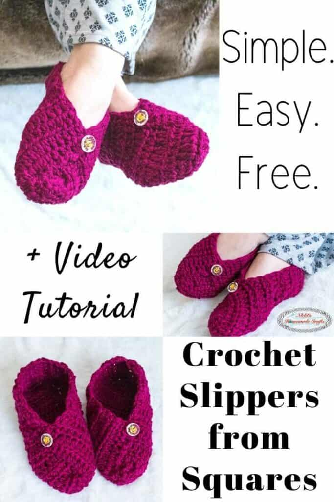 Crochet Slippers from Squares - Free Crochet Pattern