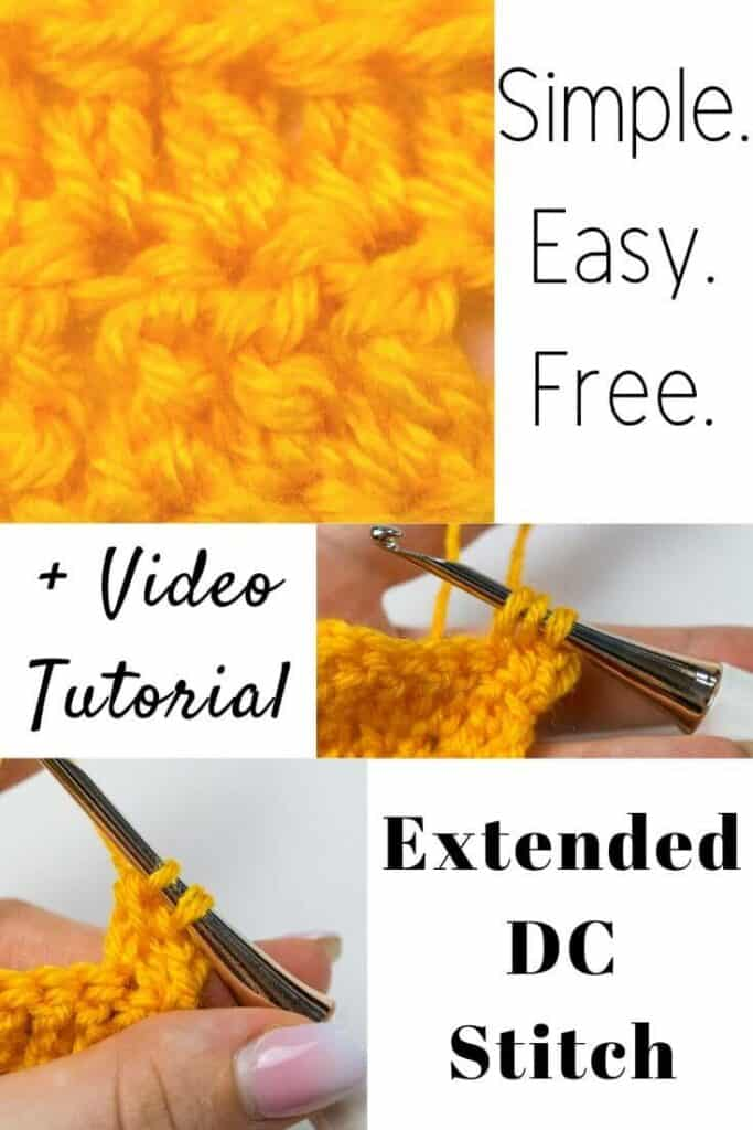 Extended Double Crochet Stitch How to video tutorial