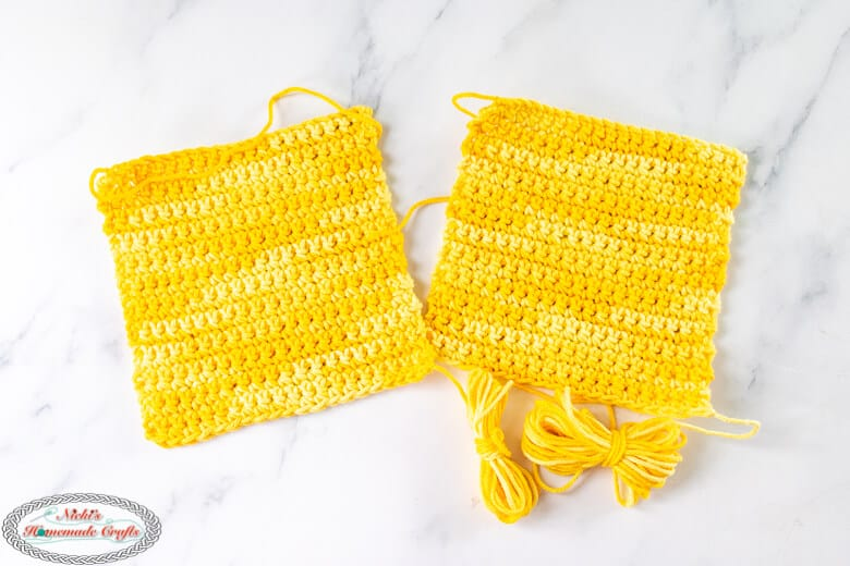 yellow squares crocheted