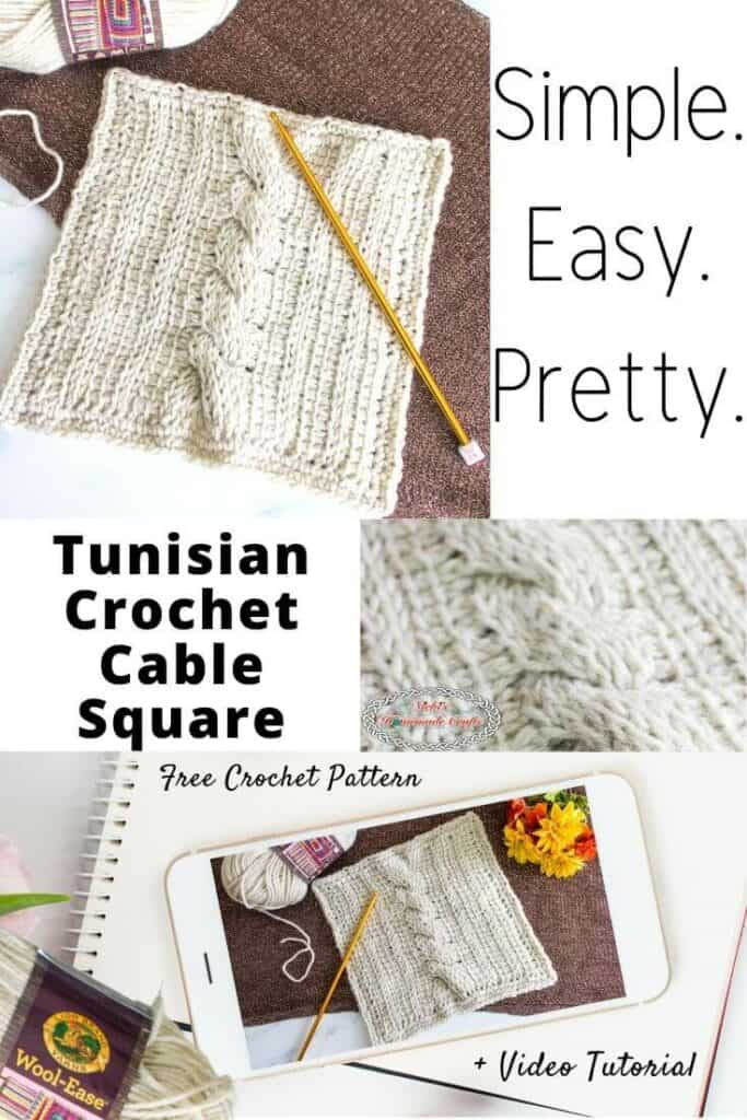Travel Afghan Tunisian Crochet Cable Square Free Crochet Pattern