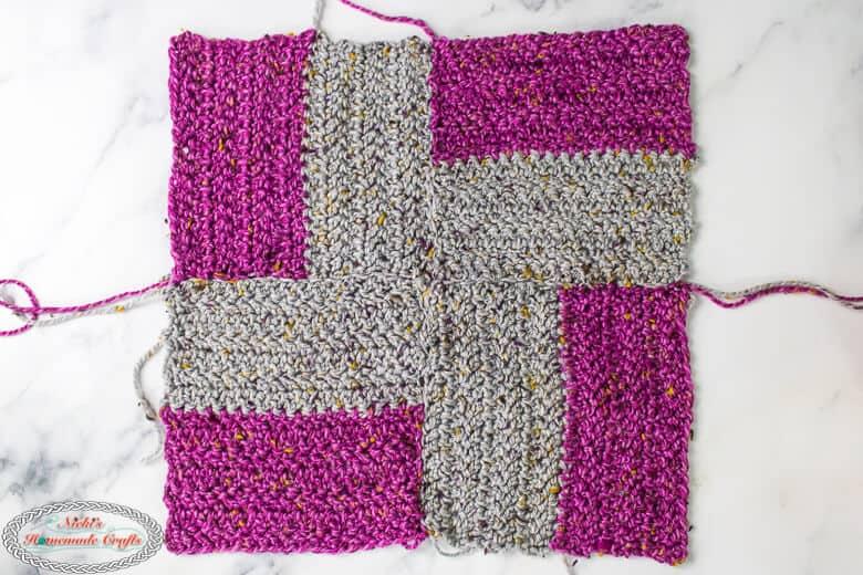 crochet squares sewn together using mattress stitch