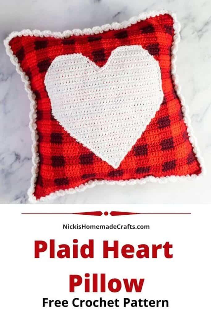 Crochet Plaid Heart Pillow