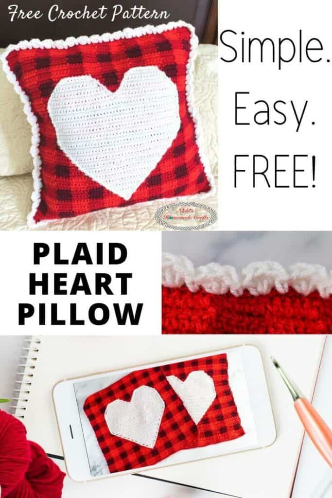 Plaid Pillow with Heart Crochet Pattern