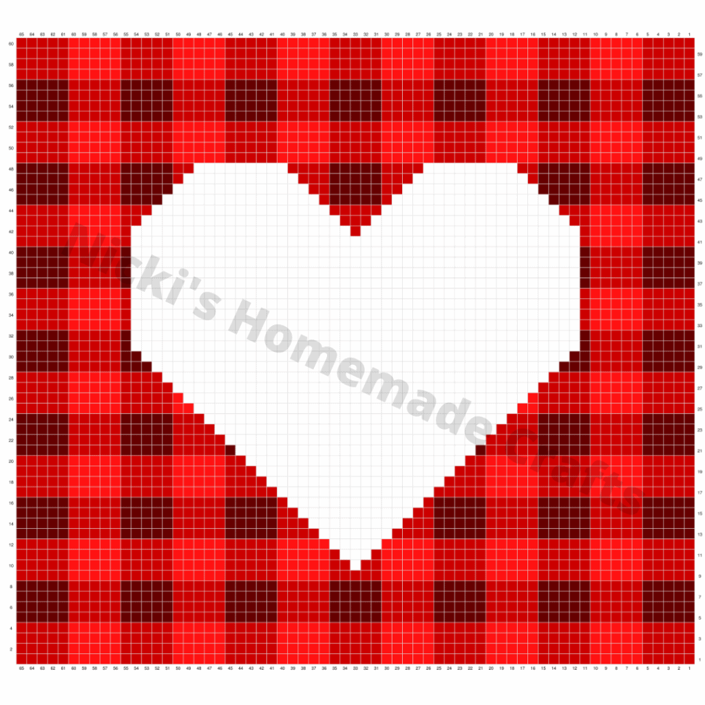 Plaid graph with heart