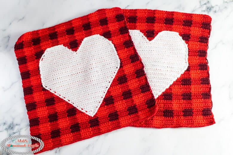 2 squares with hearts using plaid crochet