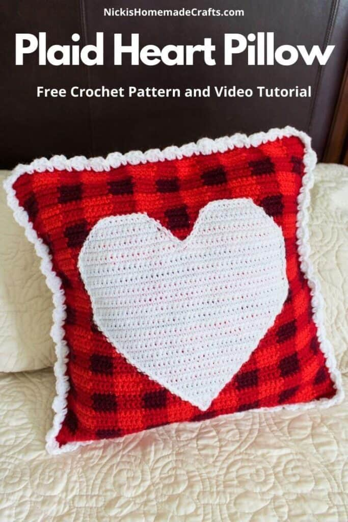 Plaid Heart Pillow - Free Crochet Pattern