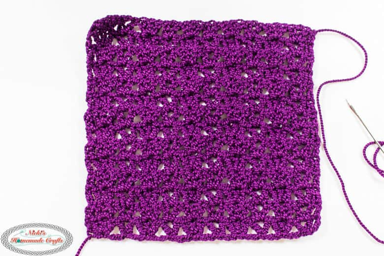 Crochet Square to make Lacy Double Crochet Fingerless Gloves