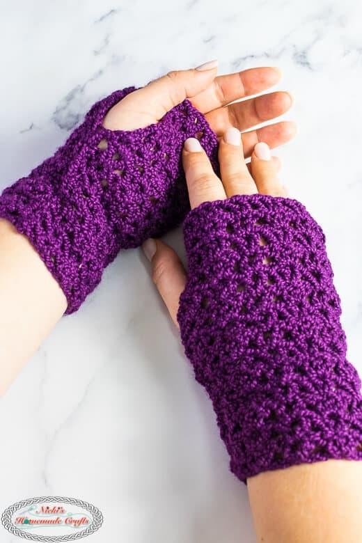 Wearing the Lacy Double Crochet Fingerless Gloves